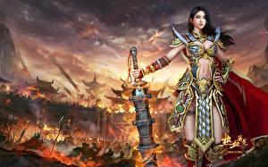 Фотографии Воины Красивые Мечи Legendary 'Striker Dragon' yonglin yao Игры Девушки