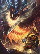Картинка Воины Орки WoW Драконы Thrall, Deathwing Игры Фэнтези
