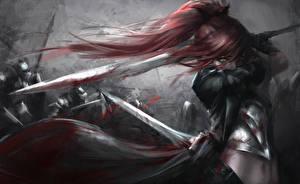 Обои Воины Мечи Волосы Кровь Рыжая Фантастика Девушки