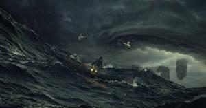 Обои Волны Лодки Мужчины Стихия Storm