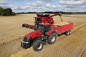 Фотография Сельскохозяйственная техника Поля Зерноуборочный комбайн Тракторы Case IH Axial-Flow 7130