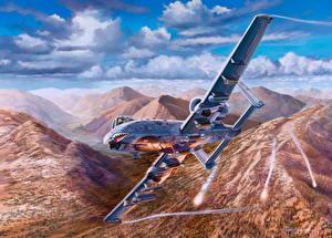 Фото Самолеты Рисованные Штурмовики Полет Американские Fairchild Republic A-10 Thunderbolt II Авиация