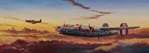 Картинки Самолеты Рисованные Бомбардировщик Летящий Тучи Американские Consolidated B-24 Liberator, P-51 Mustang Авиация