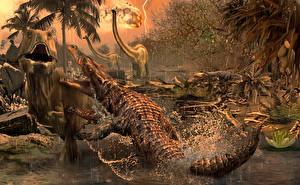 Картинки Древние животные Тираннозавр рекс Крокодилы Дерется