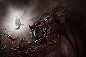 Картинка Ангелы Демоны Клыки Фантастика