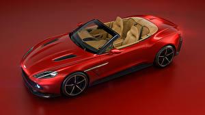 Картинки Астон мартин Красный Кабриолет Красный фон 2016 Vanquish Zagato Volante Zagato Авто