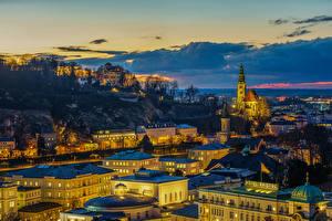 Обои Австрия Зальцбург Дома Вечер Небо