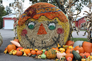 Картинки Осенние Тыква Смайлики Дизайн Сено