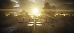 Картинка Battlefield 1 Самолеты Солнце Лучи света Летящий