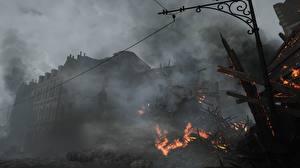 Фотография Battlefield 1 Развалины Огонь Игры 3D_Графика