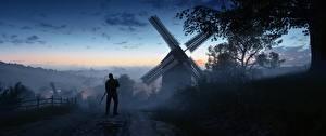 Картинка Battlefield 1 Солдаты Вечер Мельница Деревня