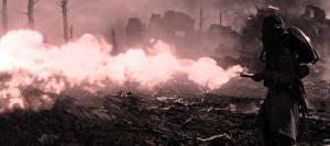 Картинки Battlefield 1 Солдаты Пламя Противогаз Игры