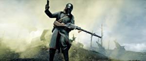Картинки Battlefield 1 Солдаты Винтовки Противогаз 3D_Графика