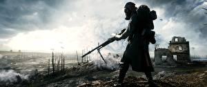 Фотографии Battlefield 1 Солдаты Винтовки Противогаз 3D_Графика