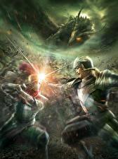 Картинка Битвы Рыцарь Драконы Bladestorm Мечи Броня Nightmare Игры Фэнтези