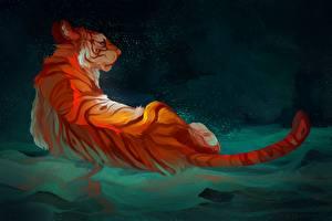 Фотография Большие кошки Рисованные Тигры