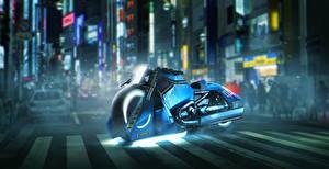 Обои Бегущий по лезвию 2049 Xарлей дэвидсон Полицейские Синий 5