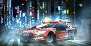 Картинки Бегущий по лезвию 2049 Красный Tesla Model S