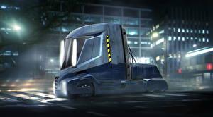 Картинки Бегущий по лезвию 2049 Грузовики Синий Truck Nikola One Semi Кино