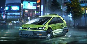 Картинка Бегущий по лезвию 2049 Volkswagen Зеленый Golf