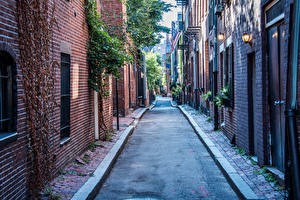 Обои Бостон США Дома Улиц Города