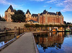 Обои Канада Здания Река Причалы Victoria Города