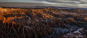 Обои Канада Парки Горы Рассветы и закаты Снег Bryce Canyon National Park Природа