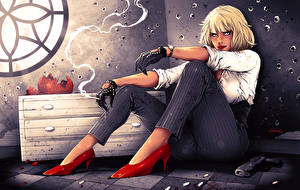 Картинка Шарлиз Терон Блондинки Сигарета Сидит Туфли Atomic Blonde Фэнтези Девушки
