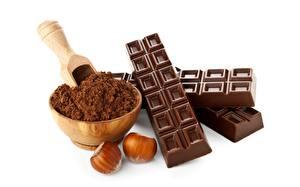 Фото Шоколад Орехи Шоколадная плитка Какао порошок Пища