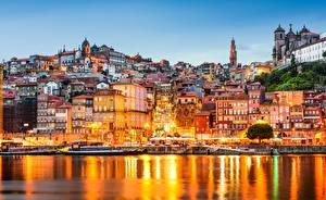 Картинка Побережье Вечер Дома Португалия Порту Города
