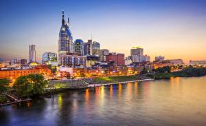 Фотографии Побережье Вечер Здания США Nashville, Tennessee Города