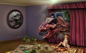 Картинка Креатив Динозавры Мальчики Девочки Злость Фантастика
