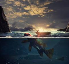 Картинка Оригинальные Вода Рыбы Лодки Ловля рыбы
