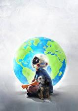 Обои Собаки Чудо 2017 Мальчики Шлем Jacob Tremblay