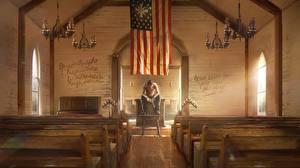 Фотографии Far Cry 5 Церковь Флаг Игры