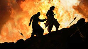 Картинки Пламя Мужчины Бахубали: Рождение легенды 2 Sathyaraj, Kattappa, Prabhas Кино
