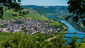 Картинка Германия Дома Речка Мосты Moselle Города