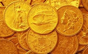 Картинки Золото Монеты Деньги Вблизи Американские Twenty Dollars