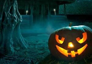 Картинка Хеллоуин Праздники Тыква Свечи