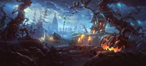 Картинки Хеллоуин Праздники Тыква Готические Фэнтези