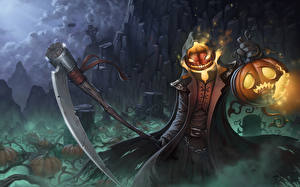 Фото Хеллоуин Праздники Тыква Коса (оружие) Pumpkin Reaper Фэнтези