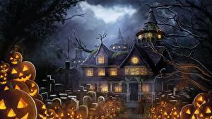 Картинки Праздники Кладбище Дома Тыква Хеллоуин Фантастика