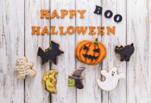 Картинки Хэллоуин Праздники Печенье Доски Английский Слово - Надпись Happy Boo Halloween