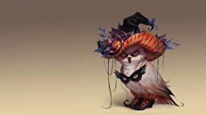 Картинки Хэллоуин Праздники Совы Маски Птицы Шляпе Valeria Styajkina Фэнтези Животные
