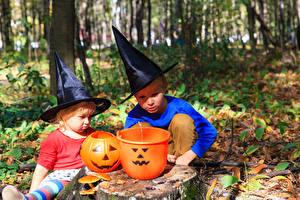 Картинки Хеллоуин Тыква Мальчики 2 Шляпа Ребёнок