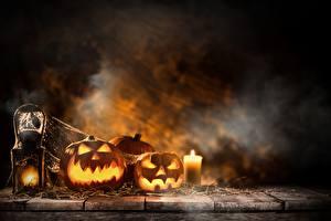 Фото Праздники Хэллоуин Тыква Свечи