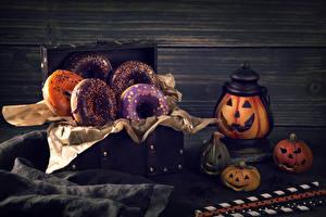Фото Праздники Хеллоуин Выпечка Пончики Тыква Стены Еда