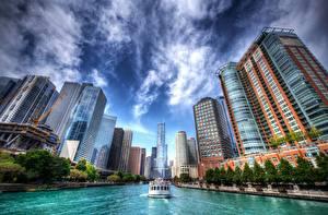 Фотографии Здания Речные суда Чикаго Штаты Водный канал HDR Города