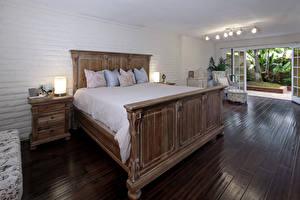 Картинки Интерьер Спальня Кровать Подушки Лампа Дизайн