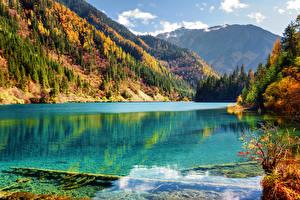 Фотографии Цзючжайгоу парк Китай Осень Парк Озеро Гора Лес Пейзаж Природа